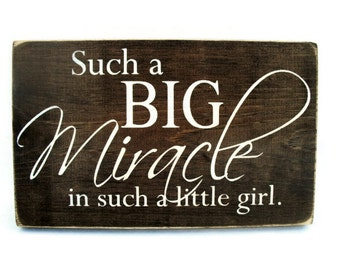 Baby Nursery or Child Wall Decor Rustic Wood Sign - Such a Big Miracle in Such a Little Girl (#1123)