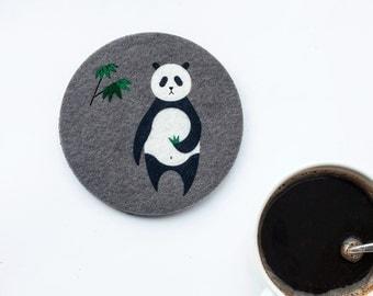 Felt animal Coaster  No.1 Panda, original design,