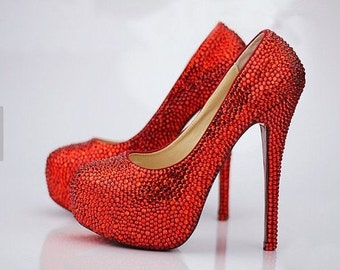 red wedding shoes bling bridal shoes custom high heels