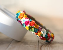 Handmade bracelet. Polymer clay. Roses, lily, flowers, meadow flowers, colorful bright bracelet. Summer jewelry. Beach style.