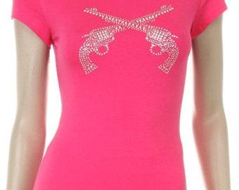 Western Pistols Rhinestone Shirt