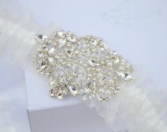 Crystal Vintage Wedding Garter Bride Luxury Lace Glamorous Pearl Great Gatsby Glam Rhinestone Gift Hen -   Chic Garter