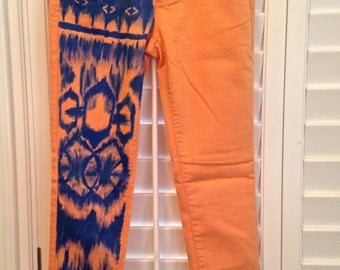 SALE! Hand Painted Jeans Orange Blue Indian