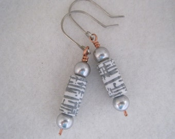 Upcycled paper bead earrings.