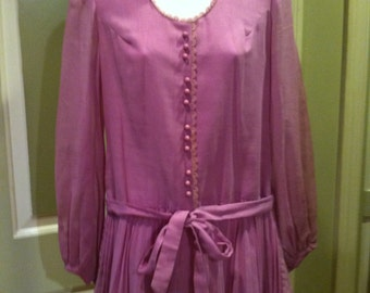 1960's Kelly Arden Pink Pleated Drop Waist Mini Dress W Sheer Balloon Sleeves
