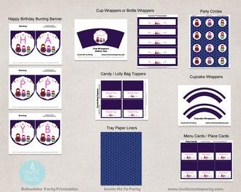 Babushka Party Decoration Printables / Matryoshka Party Decoration Printables