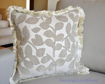 SALE Beige Velvet pillow cover Embroidered velvet leaves cushion cover brush fringe throw pillow case wedding shower gift chenille cushion