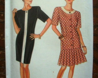 Vintage New Look Printed Pattern ~ New Look 6672 ~ Sizes 8 to 18 Bust 31 1/2 to 40 ~ 1980s Women's Casual Dress Six Sizes In One