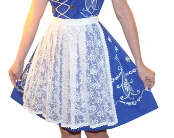 3-Piece Short Blue German Dirndl Dress 6 8 10 12 14 16 18 20 22 S M L XL