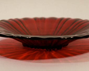 Vintage Ruby Red Cranberry Plate