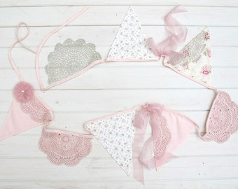 Tea Party Bunting - Vintage lace and floral bunting by Miss Rose Sister Violet floral pennants. vintage wedding. floral bunting.