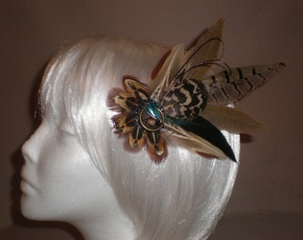 Brown and Green Feather Hair Piece