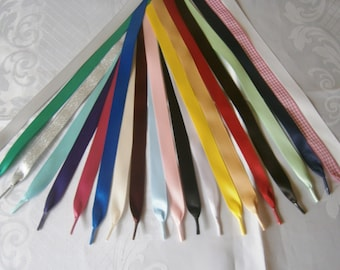"Satin & Glitter Ribbon Shoe Laces - Trainers,boots,shoes - Aglets on the ends - Many colours available -5/8"" (15mm) width"