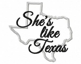 4X4 She's Like Texas Embroidery design