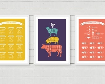 Any 3 Kitchen Posters - Meat Cuts, Conversions, Types of Knives, Vegetables Cooking Times, scandinavian,kitchen print 8x10 12x16 16x20 A4 A3