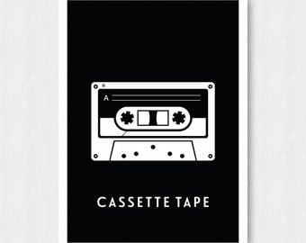 Black Cassette Tape Print, Wall Print, Wall Decor, Black, Cassette Tape, Mix Tape, Music, Printable, Digital Poster Print, Instant Download