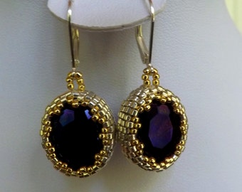 earrings with violet crystals