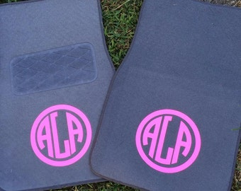 Custom Monogram Car Floor Mats Set of 4 Personalized