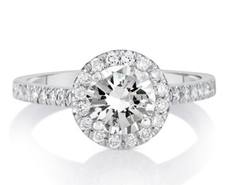 1.58 CT Round Cut d/si1 Diamond Solitaire Engagement Ring 14k White Gold