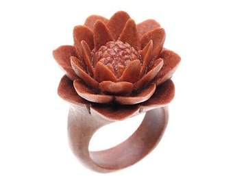 """Hand Carved Water Lily Wood Ring - 9/16"""" Flower"""