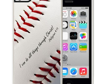 Philippians 4:13 Baseball iPhone 5c Rubber Christian Faith Case