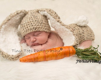 Crochet Bunny hat with diaper cover,8 colors to choose,with Big and Fluffy ears