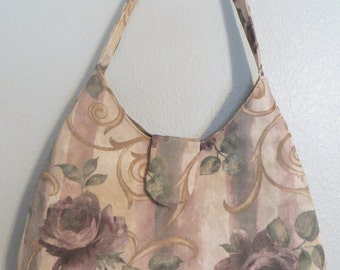 Tan and Purple, Purse, Handbag, Home sewn, Lined, 3  Interior Pockets Magnetic Snap Closure