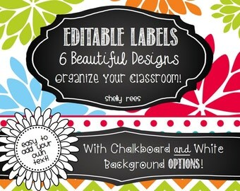 Editable Labels - Magnificent Multicolored with Chalkboard - 7 Designs