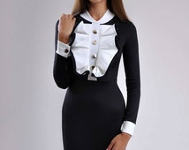 Women Ruffle Dress ,Black White Mini Dress ,Party Dress Short,Black dress new design
