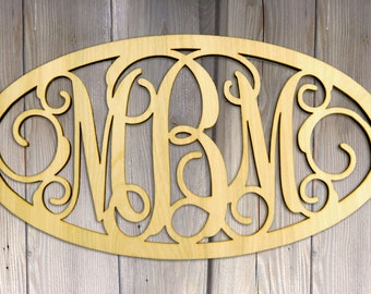 "Monogram 24 "" Oval Wooden 3 letters Monogram - Framed Unpainted Vine Script Monogram - Home Decor - Wedding Decor Monogram 110318"