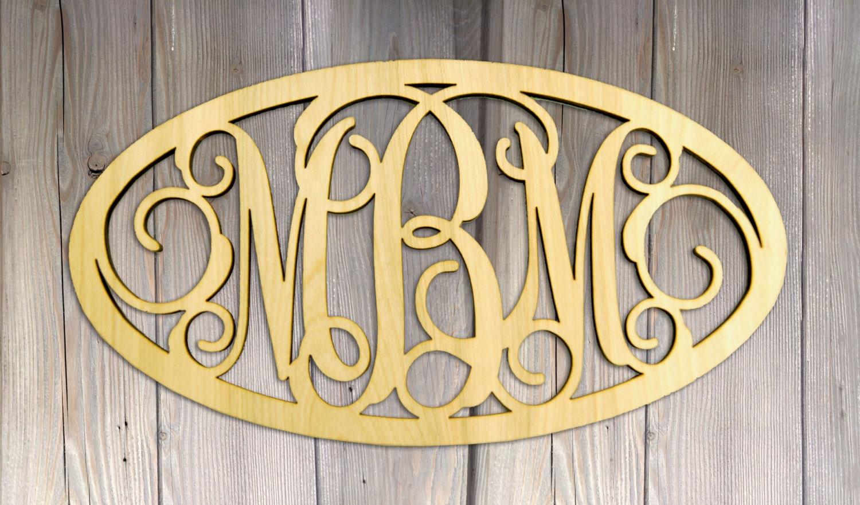 Monogram 24 Oval Wooden 3 Letters Monogram Framed