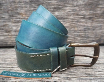 Leather belt, blue, handmade, self-coloured, italian cattle leather, with antiqued buckle