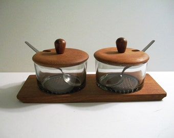 Mid-century modern Danish Denmark teak and smoke glass relish dish server 1960s - 1970s retro