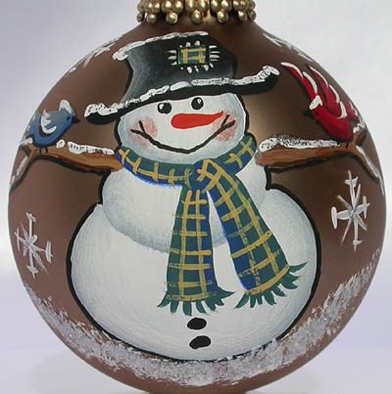 custom hand painted snowman with birds ornament