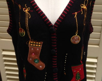 Ugly Christmas Sweater Vest; Large