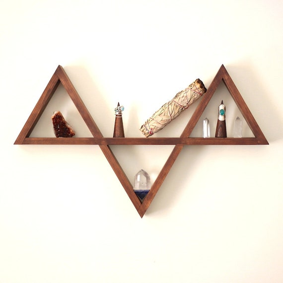 Items similar to wooden triangle shelf handmade timber triangle altar jewellery display - Triangular bookshelf ...