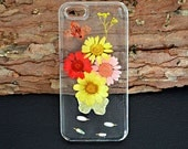 Pressed flower iPhone 5C case,Dried daisy Phone case,Real flower clear phone case,iPhone 4/4S/5/5S/5C/6,Samsung GalaxyS3 S4 S5 note2 note3