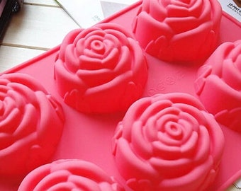 6-Roses Cake Mold 6-cavity Chocolate Mold Roses Cake Mold Flower Silicone Chocolate Mold Jelly Mold