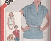 Simplicity 5456 Vintage Pattern Womens Plus Size Tops In 4 Variations Size 22,24
