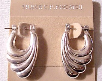 Wave Layered Hoops Pierced Earrings Silver EP Tone Vintage Large Graduated Curl Ribs