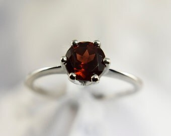 Genuine Garnet 6mm Gemstone Ring