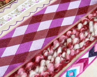 Collection vintage ribbon samples. Tribal, chequered, floral, woven, striped, chevron ribbons, pink, fuschia, chocolate & violet tones