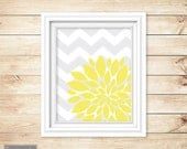 Yellow Flower Burst Wall Art Gray Chevron Bathroom Bedroom Livingroom Nursery Decor Printable 8x10 Digital JPG Instant Download (6)