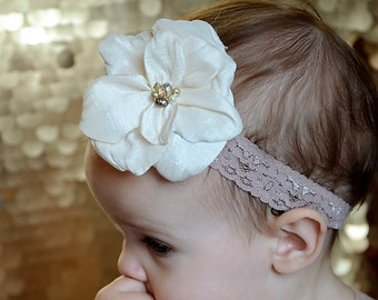 Ivory flower with pearls and crystals Baby Headband, newborn photoshoot, photo props, little girl headband