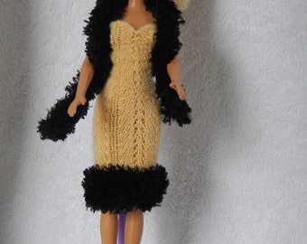 Knitted Barbie Doll Dress with Boa