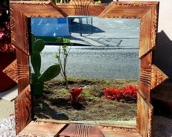 Handmade Wood Mirror 74 x 74 cm