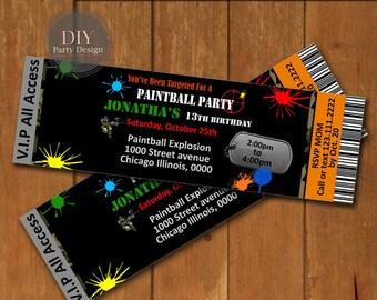 Paintball Ticket Birthday Invitation * Digital Party Invitation * You Print
