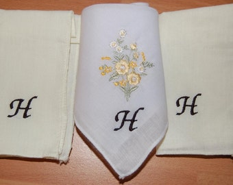 Ladies Personalised Embroidered Monogrammed Handkerchief Set - 3 Hankies Any Initial Or Name Personally Embroidered.