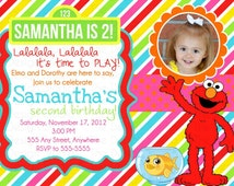 Elmo and Dorothy Striped Photo Birthday Invitation