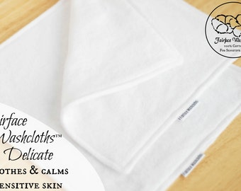 Sensitive Skin Softest Face cloths and Washcloths, Set of 2 - Soothing, Gentle for Rosacea, Eczema, Psoriasis- Fairface Washcloths™ Delicate